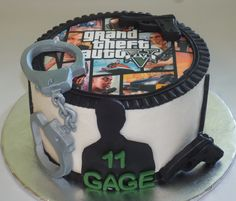 Here is a Grand Theft Auto edible image birthday cake we did.