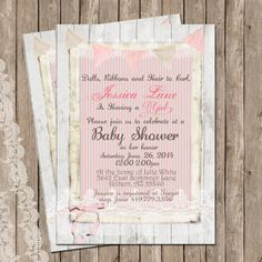 Rustic Baby Shower Invitation Shabby Lace by WallflowerEvents