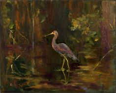 The Mysterious Everglades , 10x8, oil on canvas- great blue heron, painting by artist Maryanne Jacobsen