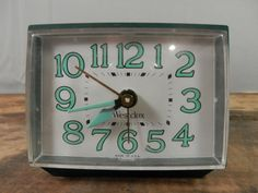 Vintage Westclox Alarm Clock Dialite Electric Alarm Dark Green with Blue Numbers Made in USA by WesternKyRustic on Etsy