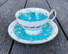 Aynsley Bone China Tea Cup and Saucer Set England Blue Gold