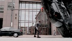 The Winter Soldier. I love how he just takes to steps to the side and watches the car topple over in front of him