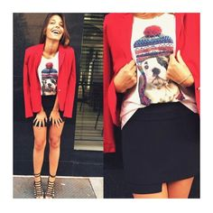 ● Blazer de Malha  ● T-shirt Bulldog de Toca  { Ameei! ♡ }  #weloveit #news #inverno15 #trend #winter15 #provadorfashion #euqueroo #inlove #confortável #workfashion #modaparameninas #trabalharcomestilo #desejododia #musthave #lookcarolcamilamodas #lookfashion #carolcamilamodas #presente #fashion #style #fashionistando