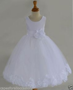 White Flower Girl dress bow sash pageant petals by ekidsbridalusa