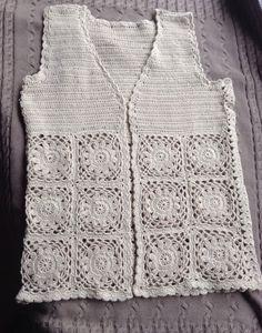 Mouwloos gehaakt vest Crochet Designs, Pulls, Crocheting, Tunic, Bride, Knitting, Tops, Dresses, Fashion