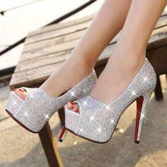 Daisy Dress For Less Shoes 5 / Silver Lovely Crystals Open Toe Women High Heel Pumps Open Toe High Heels, Black High Heels, High Heel Pumps, Pump Shoes, Shoes Heels, Platform Shoes, Heel Boots, Women's Pumps, Stilettos