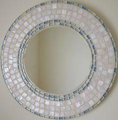 Mosaico hecho a mano hermoso espejo biselado borde blanco for Espejo con borde biselado