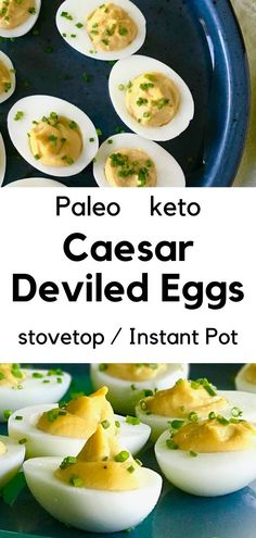This easy Caesar Deviled Eggs recipe puts a few new twist on everyone's favorite appetizer. The rich and creamy filling is the best of Caesar salad dressing and deviled eggs combined together! Plus it's Paleo, keto and can be Whole30-friendly, and there's instructions for boiling the eggs on the stovetop and Instant Pot. Whole 30 Snacks, Whole 30 Lunch, Whole 30 Breakfast, Whole 30 Recipes, Paleo Keto Recipes, Egg Recipes, Sauce Recipes, Vegetarian Recipes, Deviled Eggs Recipe