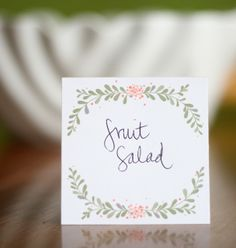 FREE printable food label or place card // from lemon squeezy