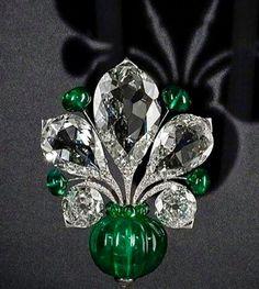 Bhagat emerald diamond brooch
