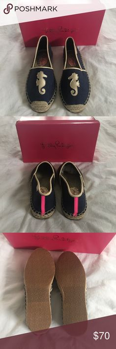 Lilly Pulitzer Espadrilles *NEW* Lilly Pulitzer espadrilles. New in box. Blue with gold seahorse on front. Lilly Pulitzer Shoes
