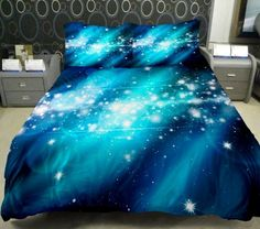 Galaxy Quilt Cover Galaxy Duvet Cover Galaxy Sheets Space Sheets Outer Space Bedding Set Bedspread with 2 Matching Pillow Covers (QUEEN) on Wanelo