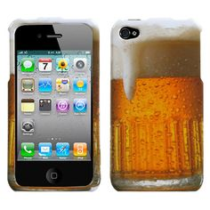 Gold Mug Alcohol Beverage Beer Cold Drink Cup Hard Cover Case for iPhone 4 4S 4G