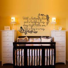 Nursey Wall Decal With a Butterfly Kiss and a door wordybirdstudios