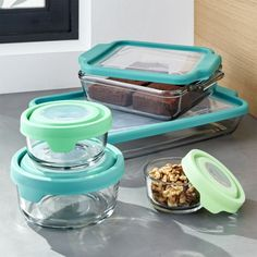 Anchor Hocking ® TrueFit Glass Bakeware Set - Crate and Barrel Plastic Food Containers, Plastic Crates, Food Storage Containers, Ikea, Glass Food Storage, Plastic Storage, Mixing Bowls, Anchor Hocking, Island