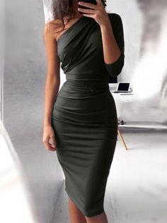 7c98f2f27 Solid Tie Sleeve Button Irregular Dress. chiquebabe.com. Vestidos
