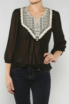 Embroidery Sheer Blouse
