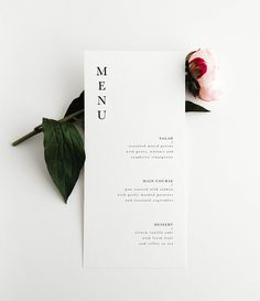 a simple, modern wedding menu - WHAT YOU GET - a print ready .pdf or .jpg file of the menu template sent to your email after customization. OTHER EXTRAS -Thank you card -Detail card -Accommodation card -Anything else you can think of - just ask :) Simple Wedding Menu, Menu Simple, Wedding Menu Cards, Simple Wedding Invitations, Wedding Stationary, Simple Weddings, Diy Wedding, Wedding Flowers, Wedding Vows