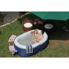 TheraPureSpa 2-Person Oval Portable Inflatable Hot Tub Spa-EST5870 - The Home Depot Inflatable Hot Tub Reviews, Bubble Spa, Tubs For Sale, Outdoor Tub, Hot Tub Deck, Portable Spa, Whirlpool Bathtub, Jacuzzi, Hot Tubs