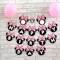 Efivs Arts Cartoon Minnie Bow Happy Birthday Party Supplies Decoration BannerRound