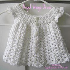 Free Crochet Baby Dress Patterns | crocheted dress newborn 2 skeins white i love this cotton 1 h crochet ...