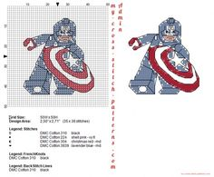 Lego Captain America free cross stitch pattern (click to view)