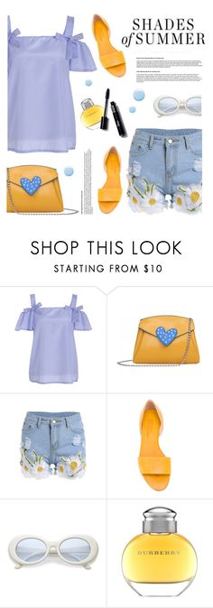 """""""Shades of Summer"""" by tamara-p ❤ liked on Polyvore featuring Michel Vivien, Burberry, Topshop, Floralshorts, yellowbag and bluetop"""