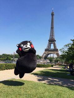 kumamon in Paris Tour Eiffel, Louvre Paris, Mont Saint Michel, Build Something, Moon Lovers, Line Friends, Rilakkuma, Cool Names, Reaction Pictures
