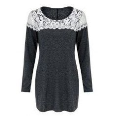 trendsgal.com - Trendsgal Scoop Neck Lace Patchwork Long Sleeves T Shirt For Women - AdoreWe.com
