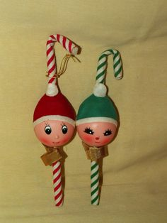 ELF Ornament Decoration Candy Cane Vintage Set 2 Red Green White Felt Plastic