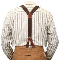 Historical Emporium Men's Canvas Stagecoach Y-Back Button End Suspenders Brown Americana Vintage, Vintage Men, Vintage Fashion, Vintage Style, Modern Gentleman, Gentleman Style, Victorian Mens Clothing, Mens Braces, Historical Emporium