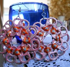 All Handmade Tab Earrings with Orange Ribbon Pink Paint and Silver Glitter Glue! Connected by fish/french hook wire