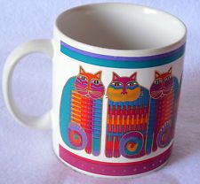 Vintage RAINBOW CAT COUSINS COFFEE MUG CUP Laurel Burch