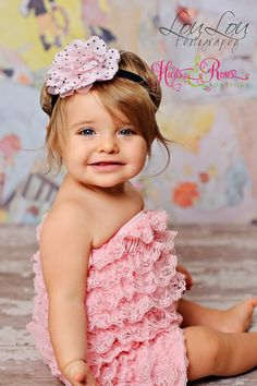 3 pc SET-Pink Petti Lace Romper, Headband,Flower Sash SET-Baby Girl Headband.Baby Headband-Lace Romper.Baby Romper,Girl Easter Outfit. $39.95, via Etsy.