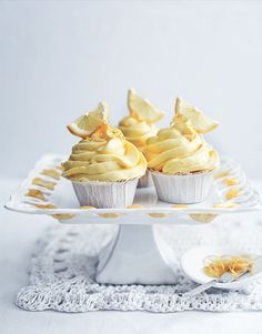 Lemony cupcakes for a shower or luncheon. Pinned for design inspo, not recipe. Homemade Cake Recipes, Cupcake Recipes, Dessert Recipes, Mini Cakes, Cupcake Cakes, Lemon Cupcakes, Köstliche Desserts, Delicious Desserts, Let Them Eat Cake