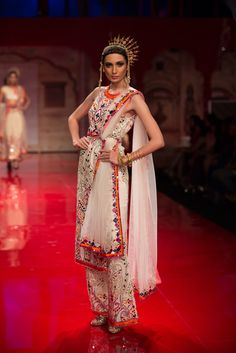 Cream and multicolored pants suit by Suneet Varma. More here: http://www.indianweddingsite.com/bmw-india-bridal-fashion-week-ibfw-2014-suneet-varma/