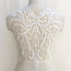Gorgeous Pattern Design European High Quality Embroidered Lace Bodice Applique With Beads And Sequin For Bridal Wedding Dress, Sell By Piece Wedding Belts, Bridal Wedding Dresses, Bridal Lace, Sequin Wedding, Beaded Lace Fabric, Embroidered Lace, Applique Wedding Dress, Applique Dress, Lace Bodice