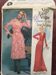 Size 12, Diane Von Furstenberg Vogue Designer Original 1549 Wrap Dress Pattern