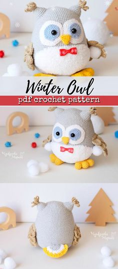 what a cute little winter owl crochet pattern! I love owls! #amigurumi #stuffed #toy #plushie #winter #handmade #etsy #affiliate