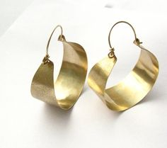 Large Bronze And Gold Filled Hoop Earrings Big Mixed by Mocahete