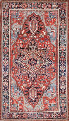 View this magnificent large Oriental antique Persian Serapi Heriz rug available for sale at Nazmiyal Antique Rugs in New York City. Shaw Carpet, Wall Carpet, Diy Carpet, Modern Carpet, Rugs On Carpet, Persian Carpet, Persian Rug, Persian Decor, Rugs