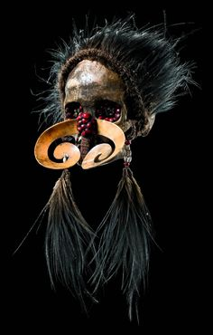 "Papua New Guinea | Ancestor skull ""ndambirkus"" from the Asmat people 