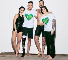 Cleo Pires e Paulo Vilhena com os paratletas nos bastidores da campanha (Foto…