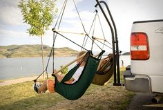 Just because you're roughing it in the outdoors doesn't mean you can't enjoy the comfort of a hammock-style air chair while you're fishing or just taking a nice snooze while enjoying the view.