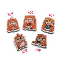 5pcs/set Anime Badge Himouto! Umaru-chan U M R cosplay Badge Pin Brooch Collections Clothes Hat Backpack Decoration Boy Girl