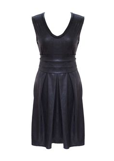 Little Black Dress Plus Size Faux Leather Pleated by tamarziv