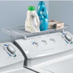Over-the-Washer Shelf hooks on easily to add instant storage space.
