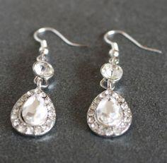 Rhinestone Earrings Crystal Drop Bezel Set Silver by JewelryTarget, £12.00