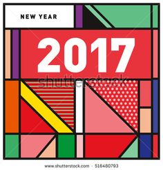 Happy New Year 2017 background. Calendar cover template. Colorful & Modern memphis style background. Greeting card vector illustration.