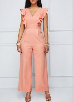 Ruffle Sleeve Peach Pink Zipper Back Jumpsuit African Wear, African Dress, African Fashion, Elegant Dresses, Casual Dresses, Hijab Fashion, Fashion Dresses, Hijab Stile, Jumpsuit Outfit